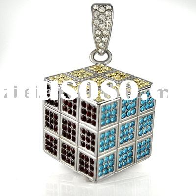ZL062HH Full Color and Stone Rubix Cube Silver Hip Hop Pendant/Bling Bling pendant/Hip-Hop Jewelry