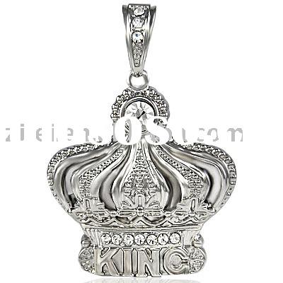 ZL102HH Large Silver King Crown With Stone Pendant/Bling Bling pendant/Hip-Hop Jewelry