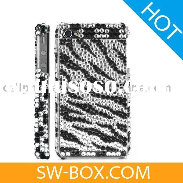 Zebra Diamond Rhinestone Bling Hard Case for iPhone 4 (Black) /For iPhone 4 case cover