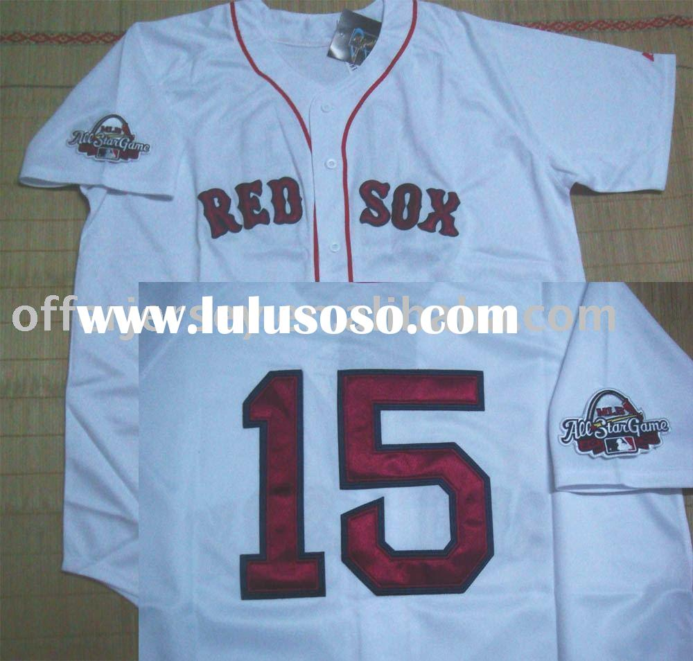 $21~$25 - NEW Style Jersey 2009 ALL STAR RED SOX #15 Pedroia Authentic white BASEBALL Jerseys size 4