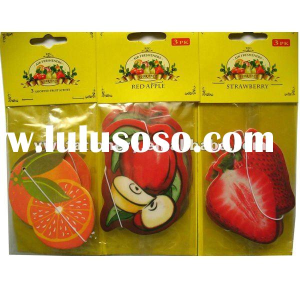 (2mm cotton-paper) air freshener paper in fruit shape (MSDS certificate available,fragrance long-las