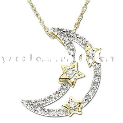 alloy necklace, Moon with Stars Pendant necklace,fashion moon with star pendant necklace (ALNB-2741)
