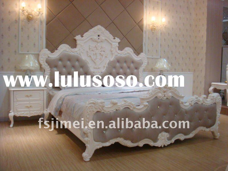 antique solid wood double bed 9860#