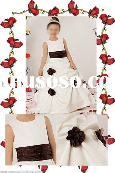 beading and applique flower girl dress ht016