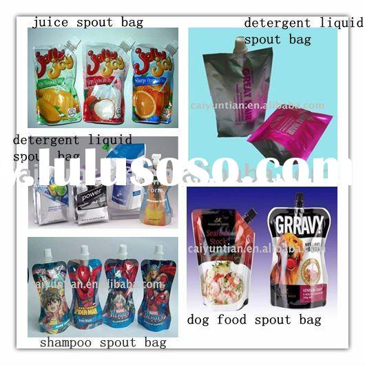 beautiful plastic stand up pouch with spout for juice,shampoo,detergent liquid packaging bag