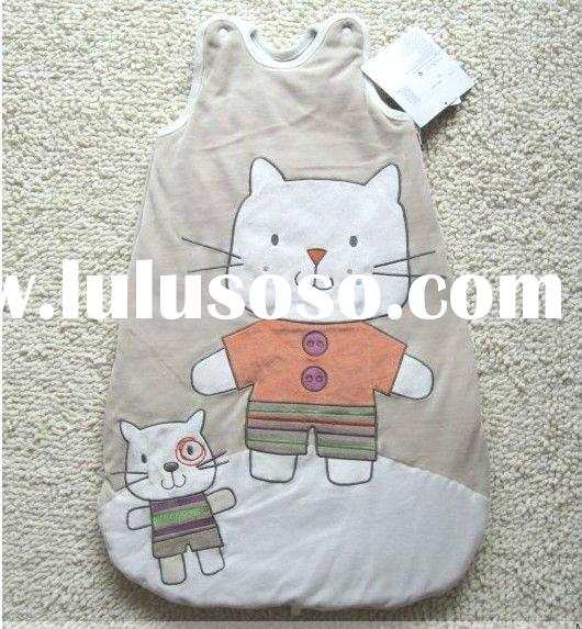 big face cat-embroidery baby sleeping bag/baby summer sleeping bag/baby sleeping bag pattern