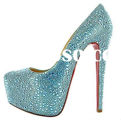 blue bridal crystal high heel shoes