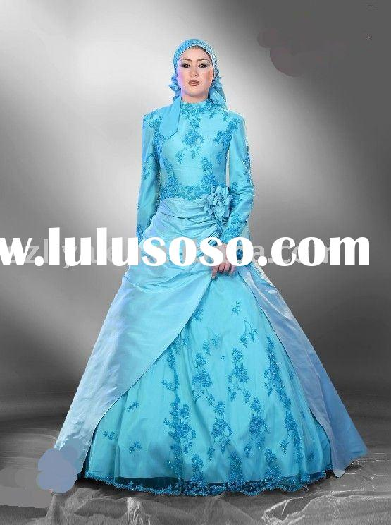 blue lace beaded long sleeves arabic wedding dresses SHS324