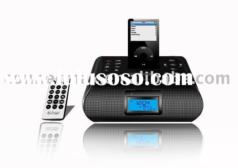 bluetooth Speaker for ipod /iphone, mini speaker with radio / alarm clock / remote control