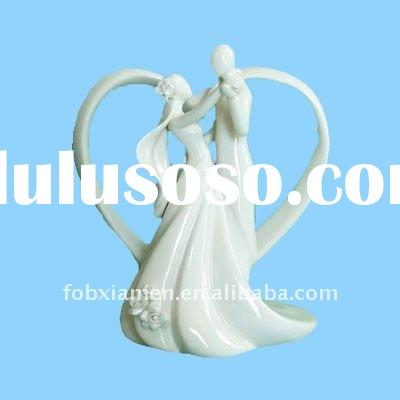 ceramic white dancing bride & groom wedding cake toppers figurine