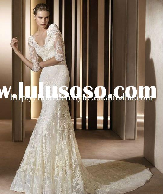 charming lace long sleeve elie saab wedding dress