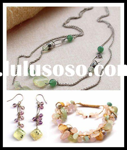 costume jewellery set,Grape stone earring,hand craft bracelets,knit bangles,925 silver necklace