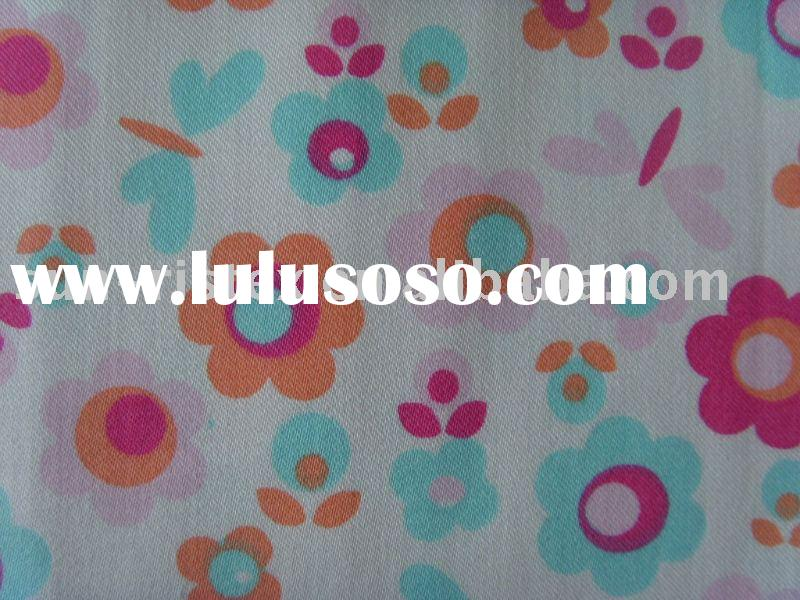 cotton/spandex(98/2) stretch satin print fabric
