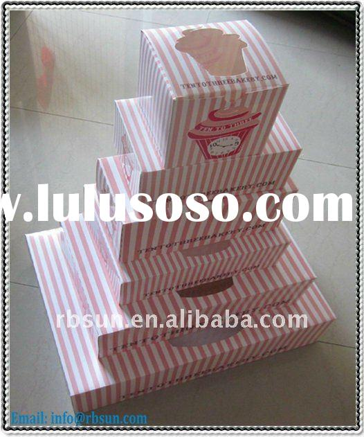 custom foldable 350gsm art paper cake box with window display of wholesale price