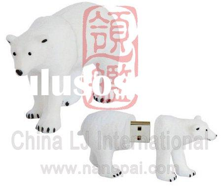 custom pvc Polar Bear usb flash drive, animal shape USB Flash Drive