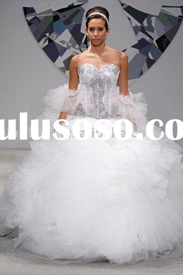 dignified sweetheart lace beaded corset bodice ball gown tulle wedding dress HS522