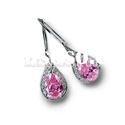 elegant 925 sterling silver teardrop earrings stud with pink diamond/cz stone,big gemstone jewelry