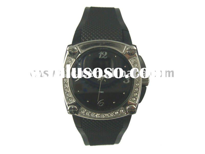 fashion popular mens silicone rubber band watch rhinestone silicone watch rubber watch