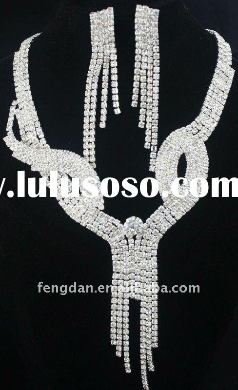 fashion wedding rhinestone necklace and earrings jewelry set