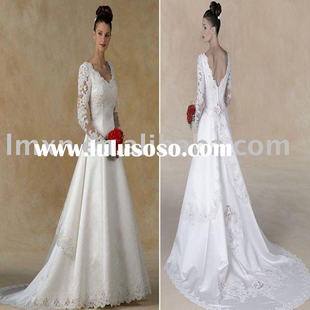 floor length A-line V-neck lace Long sleeve wedding dress