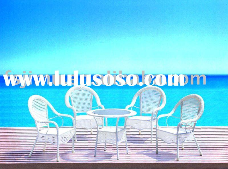 garden furniture luxury white PVC iron outdoor table and chair