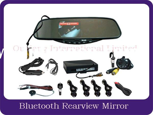 handsfree car kit with bluetooth rearview mirror