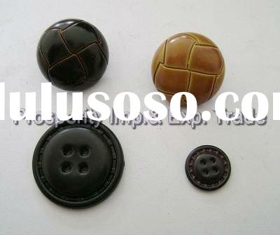 high quality brown imitation leather button,plastic button,resin button