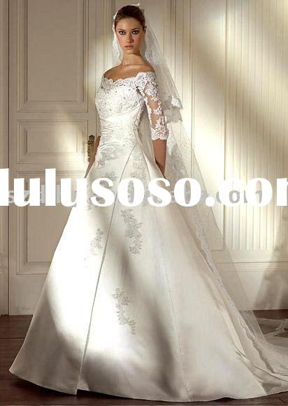 hotsale 2010 vintage long lace sleeves wedding dress SYF-539