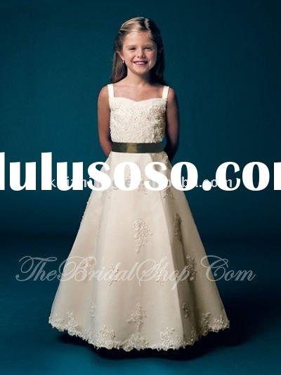 lace ribbons sash flower girl dress/kid dress 2011/girl dresses/child pageant dress