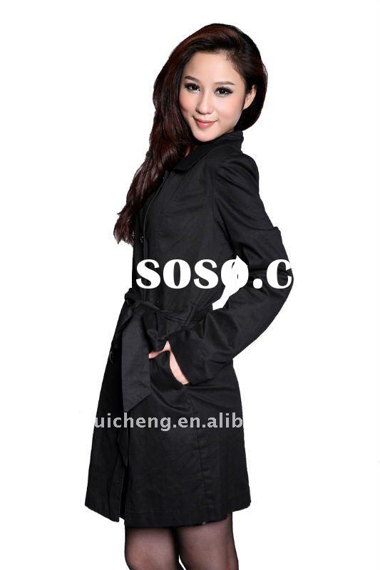 ladies new design long cotton coats for woman 2012