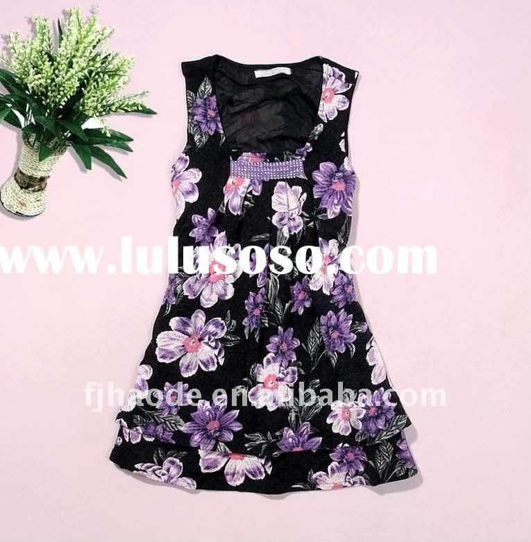 ladies stylish fashion sleeveless flower dress,flower casual summer dresses,flower cotton sleeveless
