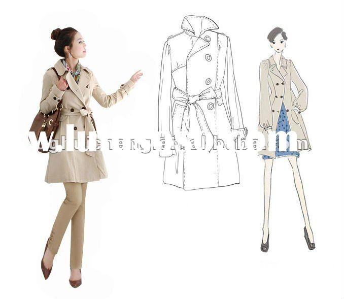lady fashion long cotton spring coat for woman 2012