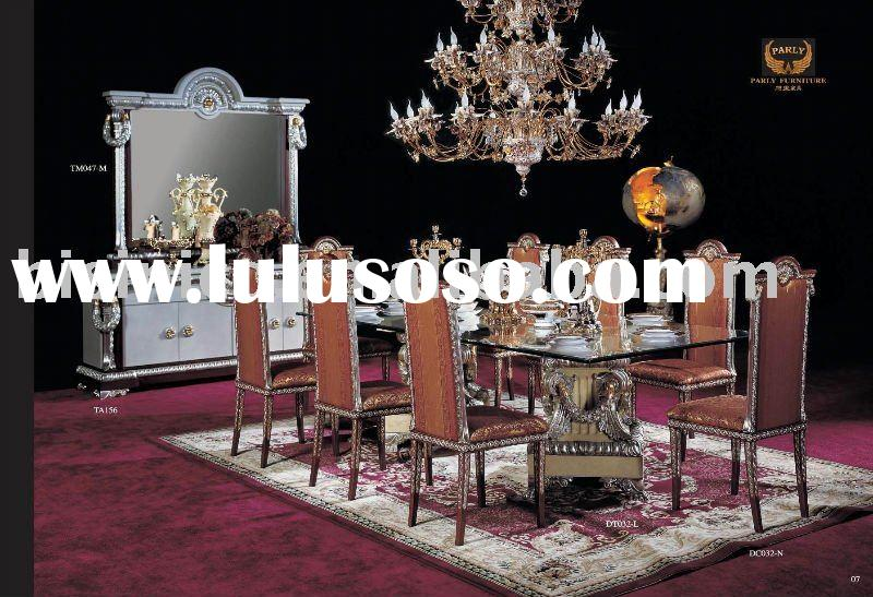 luxury european classical wood carving dining table and chair