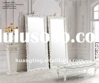 luxury white wooden frame decorative mirror/ palace painted dressing mirror for bedroom set decorati