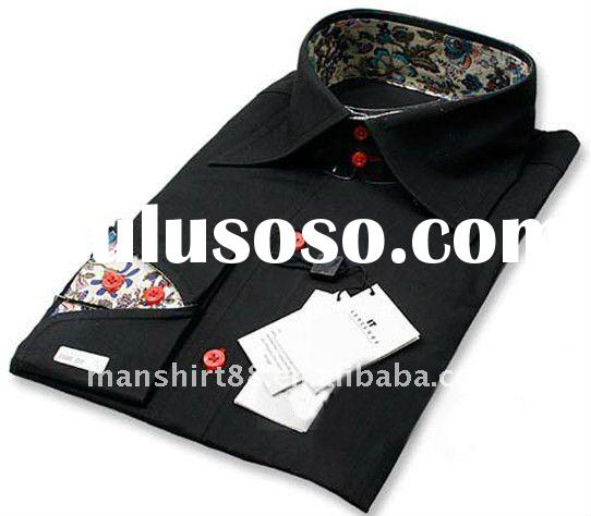 men's slim fit contrast french collar black long sleeve dress shirts