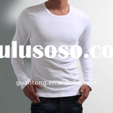 men's white blank t shirt plain color t shirt with long sleeve