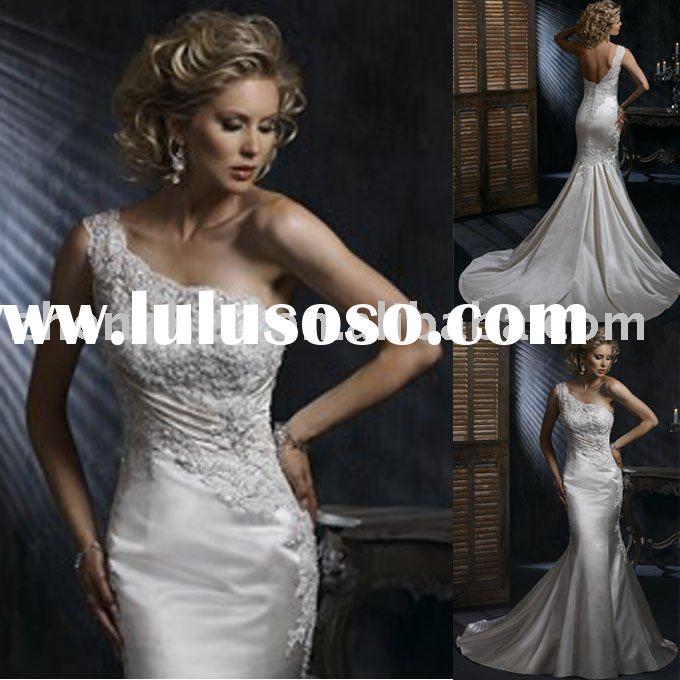 mermaid design, customized satin, one shoulder, lace wedding dress WD-943