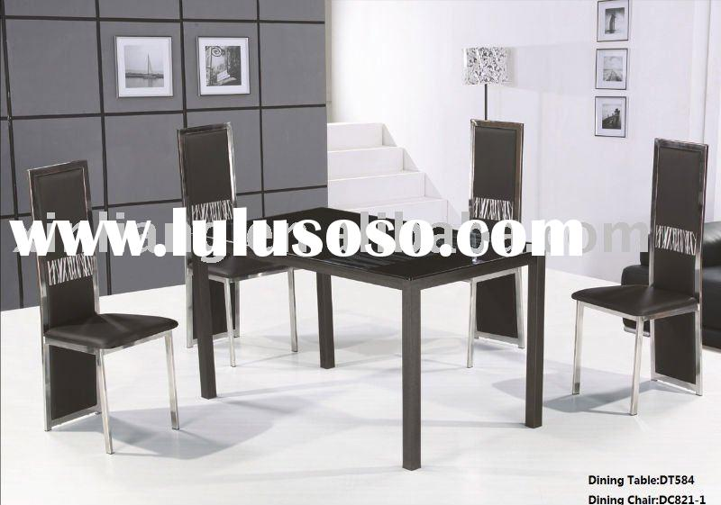 metal dining table legs/glass dining table
