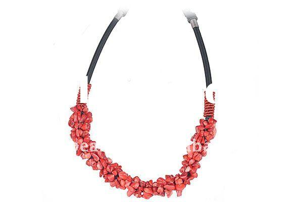 natural red coral beads elastic adjustable nugget necklace GN336