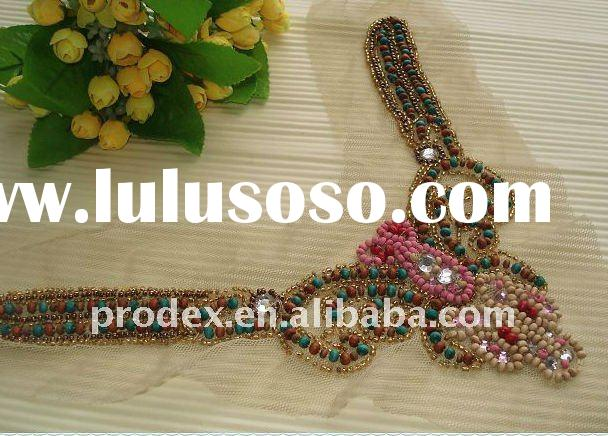 neck designs for ladies suit, wooden bead neck design collar