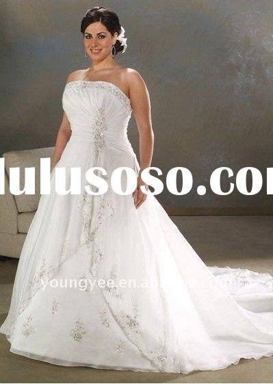 new design long train beaded plus size wedding dresses(PWD10510)