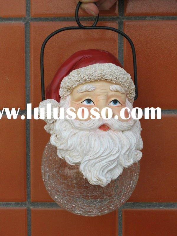 polyresin santa with glass ball solar garden lamp hanging ornament