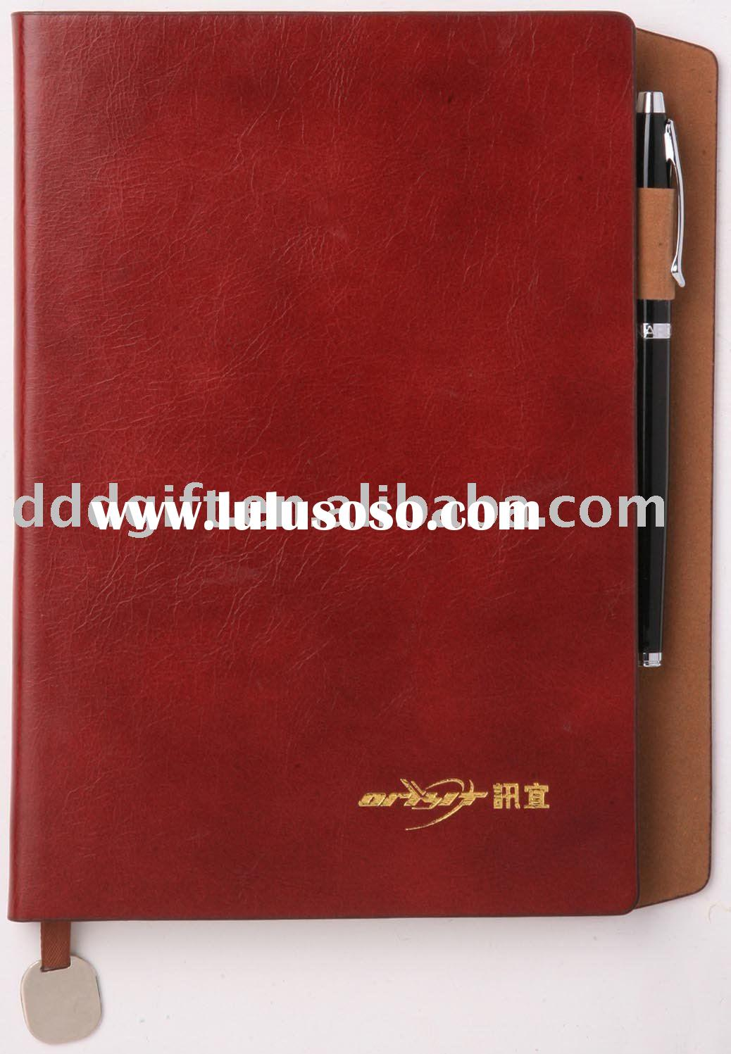 pu leather notebook with pen holder