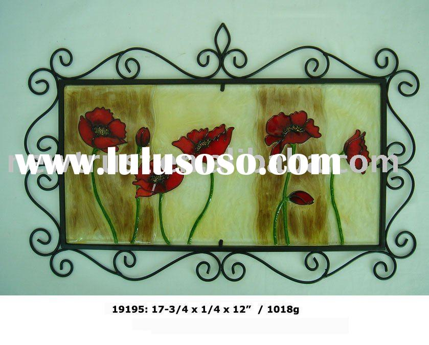 red flower painted glass wall hanging decoration