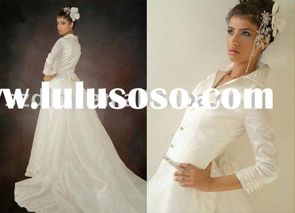 sell 2010 new style white long sleeve arabic wedding dress TY5498
