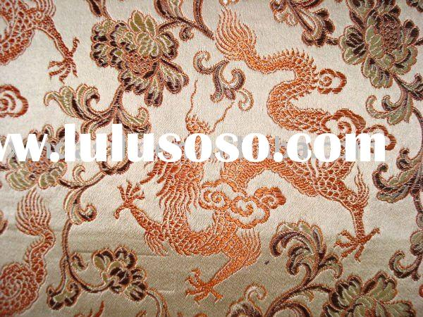 silk Satin Brocade fabric(chinese dragon design)
