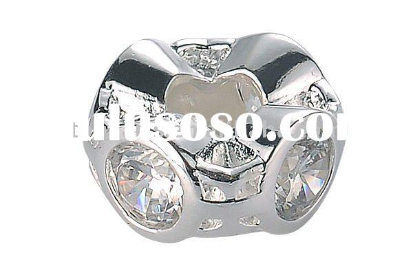 silver plated copper with cubic zirconia European large hole spacer bead LNB21