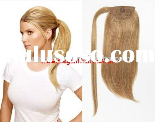 stock 100% indian remy hair wrap around ponytail 10 inch,natural straight,27#,the best price and the