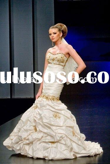 sweetheart ivory taffeta wedding dress with gold lace beaded SHS401