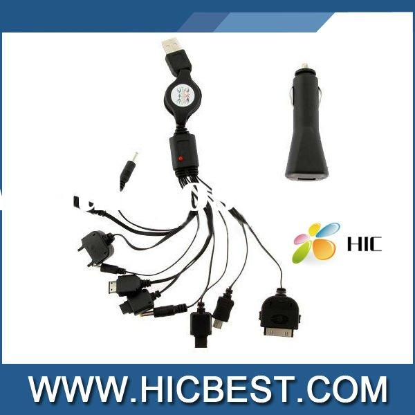 usb Multi Retractable Cable with car charge for Iphone,Mobile Phone